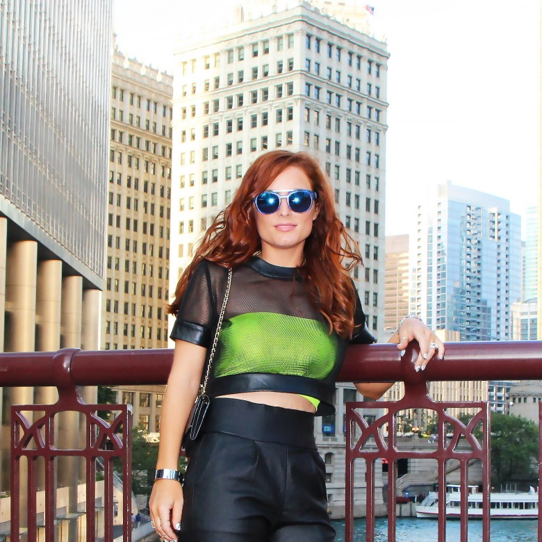 The Luxicon wearing Kora Rae mesh top with Asilio vegan leather pant