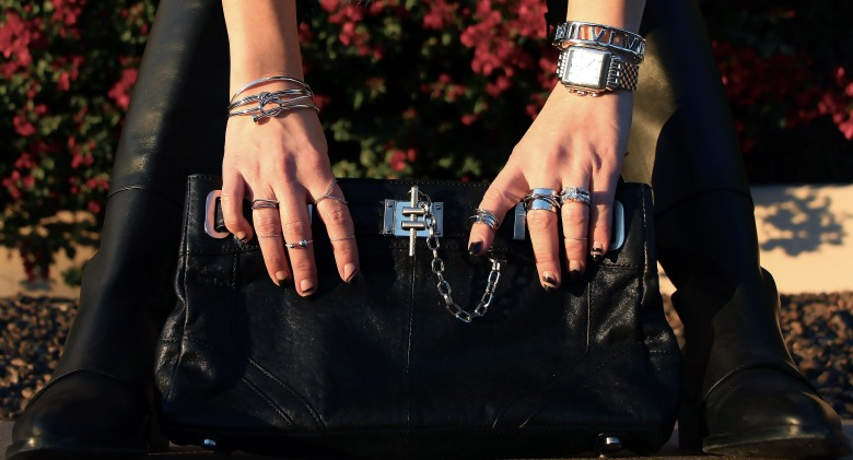 Accessories are key. Rachel Zoe Bag and Anarchy Street Jewelry.